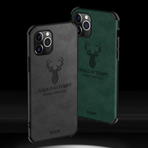 Deer Phone Case for iPhone 12 11 mini Pro MAX XS XR 7 8 plus SE 2 leather texture back cover shell