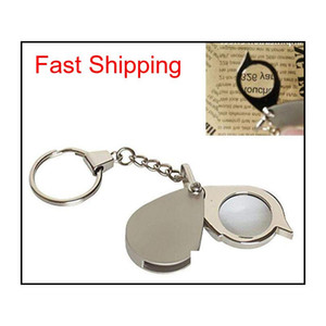 Portable 8X Folding Key Ring Glass Magnifier With Key Chain Waterproof Daily Magnifying Pocket Tool Oobxt Yo0Wa