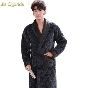Мужские спящие одежды мужские халаты для ванны длинные зимние толстые уютные Housecost роскошные бархатные кимоно 3 слоя мягкое теплые платье платье халат мужской