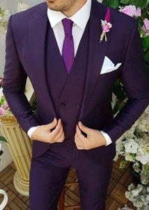 Newest Groomsmen Peak Lapel Groom Tuxedos Dark Purple Men Suits Wedding Prom Dinner Best Man Blazer ( Jacket+Pants+Tie+Vest ) W977