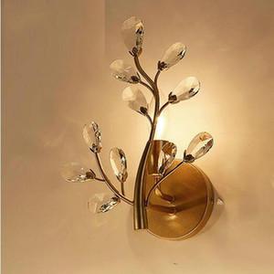 Vintage Tasarım Altın Siyah Kristal Duvar Lambası Cilalar E14 Luminare Dia24 * H30cm Kapalı Duvar Işık