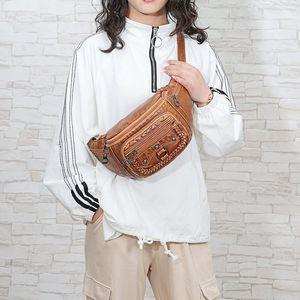 Soft leather wash chest waist bag 2021 new lightweight fashion versatile for men and women