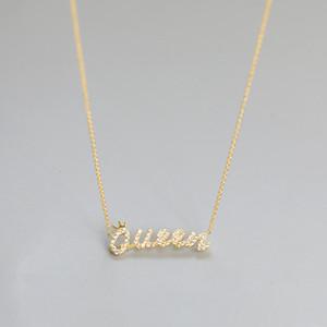Shi shang korea leste portão moda temperamento pequeno zircão carta fresca coroa 925 colar de prata cocar feminino