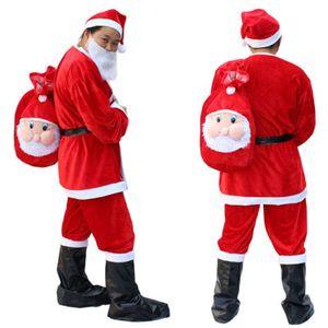 Papai Noel Christmas Theme Theme Traje Unisex Cosplay Manga Longa 5 Peças Ternos Fashion Funny Trajes