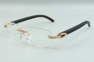 2021 new style high-end designers medium diamonds glasses 3524012 for men women natural black wooden glasses frame, size: 36-18-135mm