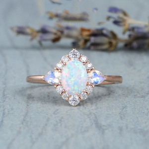 Natural Moonstone Gemstone for Women Fine Bizuteria Bijoux Femme Anillos Mujer Opal Jewelry 14k Rose Gold Rings