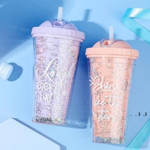 19 oz Plastic Water Bottle with Straw Cute Girls Kids Water Tumbler Double Wall Eco-friendly Sports Bottles FWF4953