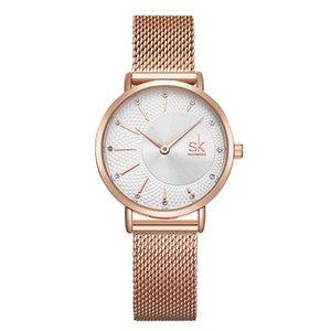 Hot Shengke Steel Mesh Band with Diamond Inlaid Women's 2-pin Quartz Watch K0093
