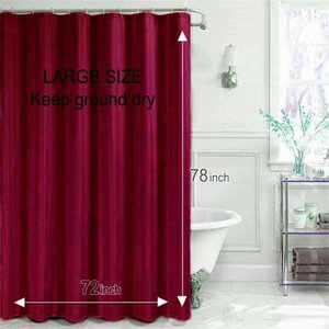 NEOMI Polyester Shower Curtain Solid Wine Red Waterproof for Bathroom 180x200cm Eco-friendly Christmas Bath 210915