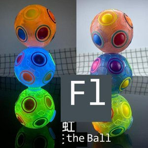 Tiktok Rotating Rainbow Ball Spinner Decompression Toys Glow in the Dark Fidget Magic Finger Balls Puzzle Rotatable Fluorescent Fingertip Spinners Game G66V4N1