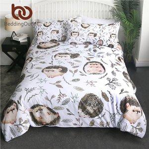 BeddingOutlet Hedgehog Quilt Cover Cartoon Kids Bedding Set Leaf Floral Bedspread Brown Edredom Unicorn Animal Bedlinen 3pcs 210309