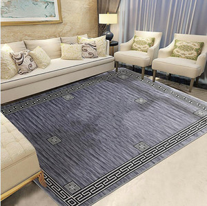 Big Size Rug Indoor Prayer Carpet Fashion Grey Dark Grey Beige Print Geometric Striped Bedroom Mat