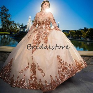 Sparkly Rose Gold Sequin Quinceanera Dresses Elegant Sweetheart Plus Size Prom Party Dress 2021 Beaded Fluffy Tulle Mexican Sweet 15 Dress
