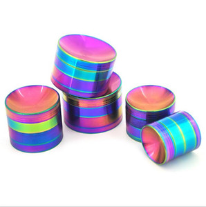 Household Rainbow Grinders zinc alloy grinder can laser logo dazzling color grinder Smoking accessories ZC059