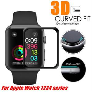 Film de protecteur d'écran 3D pour la montre Apple de 38mm 40mm 44mm 44mm 42mm 9H Verre trempé trempé pour iWatch Series 4 321