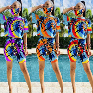 Womens 3 piece tracksuit with Face Mask tie-dye t shirt crop top biker shorts Outfits sets sportswear 2 two piece plus size clothing
