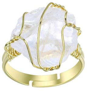 Wholesale 10 Pcs Gold Plated Wire Wrap Many Colors Stone and Crystal Resizable Finger Ring for Women Fashion Jewelry