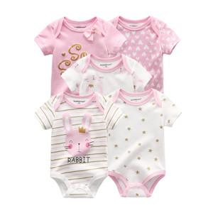 2021 طفلة ملابس للجنسين 5 قطع القطنية داخلية طباعة الوليد الطفل بوي الملابس الفتيات ملابس الطفل الكرتون roupas دي بيبي Q0201