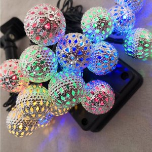 Solar light string 20 led Moroccan iron hollow out silver ball small ball Christmas day decorative battery box lamp