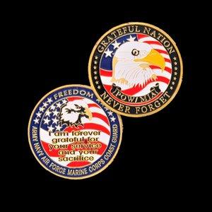 EUA Exército Marinha Aérea Força Marinha Corps Costeira Guarde Freedom Eagle Gold Banhado Cor Raro Desafio Moeda para Coleção