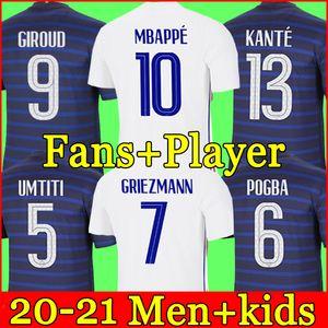 France Maillot de foot soccer jersey maillots de football Euro Cup 2021 21 22 Francais français Coupe d'Europe MBAPPE chemise de la équipe Hommes + enfants enfant kit