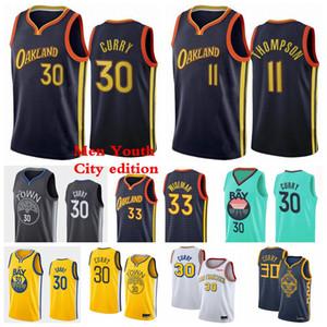 Estado DouradoGuerreirosHomens Crianças Stephen 30 Curry Jersey 11 Thompson 33 Wiseman Basquetebol Jerseys 2021 City Jerseys Edição Azul Branco Preto Jovem S-3XL