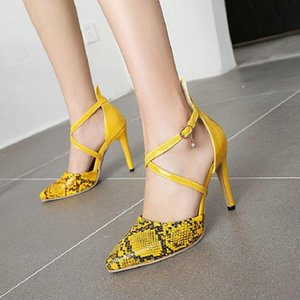 Sianie Tianie Sexy Pointed Toe Snake Skin Print Luxery Shoes Women Super Thin High Heels Cross Strap Gladiators Party Sandals