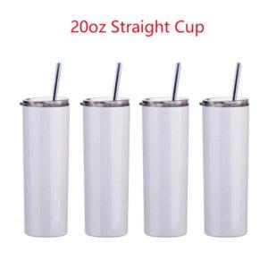 US Stock! 20oz sublimação Caneca Embaladores retos de tumblers em branco Vácuo de aço inoxidável isolado Slim DIY 20 Oz Cup carro canecas 496