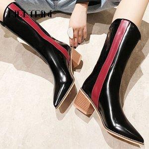 Ribetrini Moda Mujeres Patente de Patente Botas de Motorcilo 2019 Talón de madera Punto de punta Shoes Mujer Microfibra Mid Calf Boots Botas de invierno G1ZO #