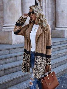 Chaquetas de cuello otoño invierno de manga larga ropa exterior de moda con estampado de leopardo para mujer con paneles cardigan abrigo para mujer Designer solapa