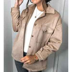 Noworry Coat Women 2021 Giacca in pelle scamosciata Cappotto lungo Casual Casual Soprabito invernale Ladies Thick Giacca sovradimensionata Chic Single Breasted