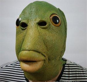 Светящиеся ультраманы против зеленой рыбы странные рыбы маска гарнитура, пить зеленую рыбу гарнитура латексная маска животных