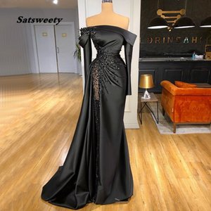 Mermaid Long Sleeves Evening Dresses 2 Pieces High Neck Beaded Satin Prom Dress Plus Size Women Formal Party Gowns
