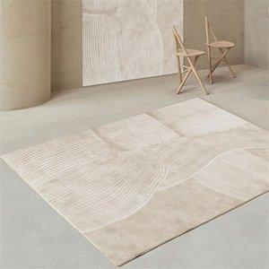 Carpets Living Room Decorative Carpet Bedroom Light Luxury Home Wabi-sabi Style Striped Simple Bedside Blanket Plush
