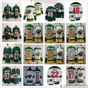 2021 Reverse Retro Minnesota Wild Hockey 46 Spargeon Jared 97 Kirill Kaprizov 11 Zach Parise 22 Kevin Fiala Matt Dumba Ryan Suter maglie