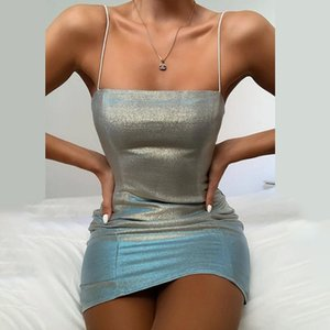 New Women Sexy Sequined sliver Bodycon Sparkly Backless Bandage Sleeveless Evening Party Club Mini Dress Sundress