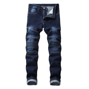 Casual Men's Motorcycle Pleated Jeans Cotton High Quality Stretch Slim Straight Denim Trousers Dark Blue Fashion Diesel Pants Q0128