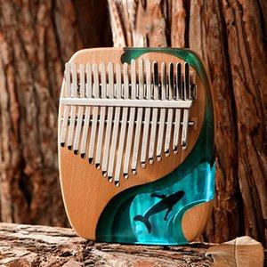 17 21 Keys Kalimba Pine Thumb Finger Piano Musical Instrument Keyboard Machine Ocean Dolphin Newers