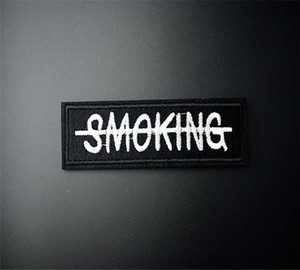 No Smoking 3.5x13.1cm DIY Patch Badge Embroidered Cute Badges Hippie Iron On Kids Cartoon Patch For Clothes Stickers