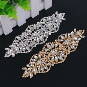1 Pair handmade crystal brilliant applique with stone tassel silver rhinestone applique trim for bridal wedding belt DIY sewing