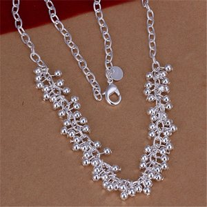 Free shipping women's gemstone 925 silver Necklace(with chain) 6 pieces a lot mixed style,bead flower sterling silver Necklace DFMN50 128 T2