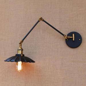 LOFT Siyah Endüstriyel Metal Vintage Duvar Lambası E27 Işık Aplik ile Ayarlanabilir Uzun Salıncak Kol Için Çalışma Odası Yatak Odası Bar