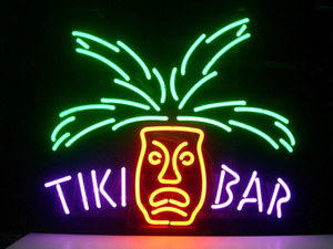 "17""x14""TIKI BAR PARADISE PALM Handcrafted Design Decorate Real Glass Tube Neon Light Sign Beer Bar Pub Party Visual Artwork Gift"