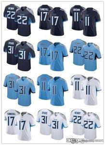 Uomini donne giovanili.TennesseeTitans.22 Derrick Henry 11 AJ Brown 31 Kevin Byalard 17 Ryan Tannehill Jerseys Blu Navy Blue