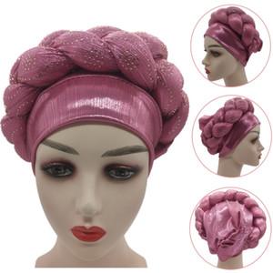 Africain Femme Glitter Elastic Muslim Hijab Bonnet New Rhinestone Turban Women Head Wraps Braids Turbante Mujer Auto Gele