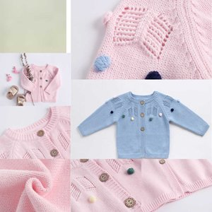 Cardigan INS baby kids clothing Knitted Solid Color Hollow Out Design sweater 100% Cotton Boutique Girl spring fall sweater REYM