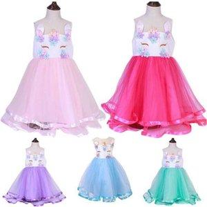 100-150cm 5T-12T Girls Sleeveless Summer Dress Cute Unicorn Tutu Dresses Mesh Patchwork Princess Skirt Halloween Netsha Fluorescent Edge Party Dress G85ER73