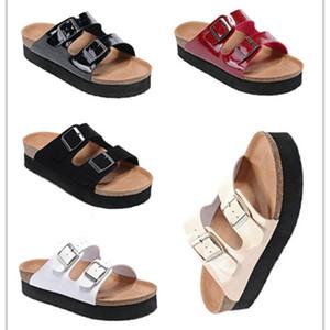 Boken Famous Brand Arizona Brik Men Flat Heel Cork Slippers Women Genuine Leather Casual Sandals With Buckle Summer Beach Thick bottom shoes