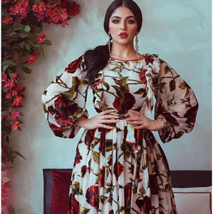 Women Dress 2021 New Rose Print Long Sleeve Evening Party Dress O neck Plus Size Loose Chiffon Dresses Vestidos African Clothes