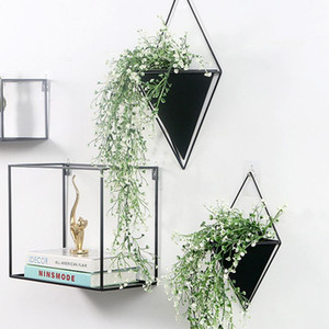Geometric Flower Pot Metal Iron Frame Ceramic Wall Hanging Vases Decorative Mini Potted Plant Container Office Wall Decoration